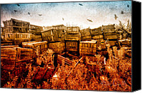 Crows Canvas Prints - Apple Crates and Crows Canvas Print by Bob Orsillo