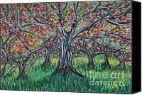Apples Pastels Canvas Prints - Apple Orchard Canvas Print by Sally Rice