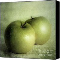 Green Photo Canvas Prints - Apple Painting Canvas Print by Priska Wettstein