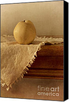Wooden Tapestries Textiles Canvas Prints - Apple Pear On A Table Canvas Print by Priska Wettstein