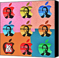 Digital Paint Canvas Prints - Apple Pop Art - Steve Jobs Tribute Canvas Print by Radu Aldea