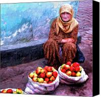 Vendor Painting Canvas Prints - Apple Seller Canvas Print by Dominic Piperata