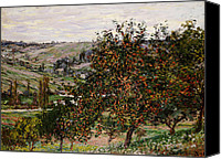 Signed Painting Canvas Prints - Apple Trees near Vetheuil Canvas Print by Claude Monet