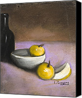 Apples Pastels Canvas Prints - Apples Bowl and Bottle Canvas Print by L Cooper