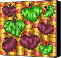 Fruits Drawings Canvas Prints - Apples Canvas Print by Hilda Tovar