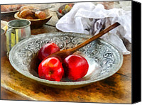 Wooden Bowls Canvas Prints - Apples in a Silver Bowl Canvas Print by Susan Savad