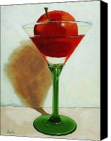 Linda Apple Canvas Prints - APPLETINI - apple still life painting Canvas Print by Linda Apple