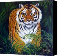 Bigcat Canvas Prints - Approaching Tiger Canvas Print by Janet Silkoff