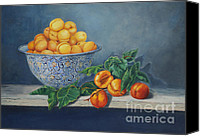 Blue Canvas Prints - Apricots and Peaches Canvas Print by Enzie Shahmiri