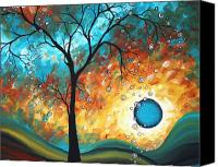 Blue Painting Canvas Prints - Aqua Burn by MADART Canvas Print by Megan Duncanson