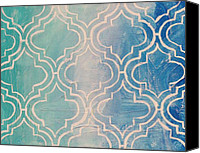Moroccan Painting Canvas Prints - Aqua Moroccan Canvas Print by Nadine Makos