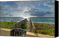 Florida Bridge Canvas Prints - Aqua Seas Canvas Print by Debra and Dave Vanderlaan