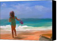 Beach Scene Canvas Prints - Aqua Seas Canvas Print by Patti Siehien