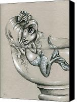 Mermaid Drawings Canvas Prints - Aquarelle Canvas Print by SourTaffy
