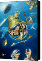Shipwreck Painting Canvas Prints - AQUARIA RISING from Mask of the Ancient Mariner Canvas Print by Patrick Anthony Pierson