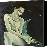 Live Art Canvas Prints - Aquarius from  Zodiac signs series Canvas Print by Dorina  Costras