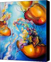 Jellyfish Painting Canvas Prints - Aquatic Bloom Canvas Print by Leah Van Rees