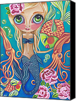 Jasmine Painting Canvas Prints - Aquatic Mermaid Canvas Print by Jaz Higgins