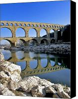 Worth Canvas Prints - Aqueduc du Pont du Gard.Provence Canvas Print by Bernard Jaubert