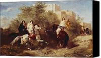 Horsemen Canvas Prints - Arab Horsemen Canvas Print by Eugene Fromentin