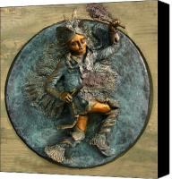 Native American Reliefs Canvas Prints - Arapaho Dancer from Snowy Range Life Canvas Print by Dawn Senior-Trask
