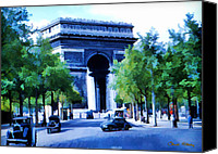 Signed Photo Canvas Prints - Arc de Triomphe 1954 Canvas Print by Chuck Staley