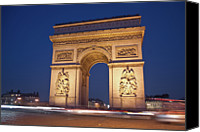 Road Travel Canvas Prints - Arc De Triomphe, Paris, France Canvas Print by David Min