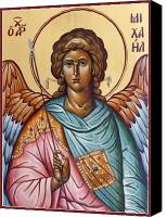 Byzantine Icon Canvas Prints - Archangel Michael Canvas Print by Julia Bridget Hayes