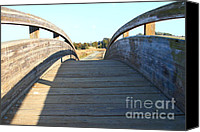 Wood Bridges Canvas Prints - Arched Pedestrian Bridge At Martinez Regional Shoreline Park in Martinez California . 7D10518 Canvas Print by Wingsdomain Art and Photography