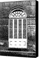 Black And White Canvas Prints - Arched White Shuttered Window French Quarter New Orleans Black and White Stamp Digital Art Canvas Print by Shawn OBrien