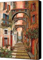 Street Scene Canvas Prints - Archetti In Rosso Canvas Print by Guido Borelli