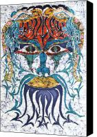 Spirituality Tapestries - Textiles Canvas Prints - Archetypal Mask Canvas Print by Carol  Law Conklin