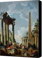 Ruin Painting Canvas Prints - Architectural Capriccio with a Preacher in the Ruins Canvas Print by Giovanni Paolo Pannini or Panini