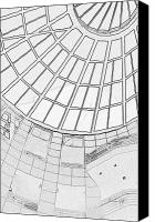 Black And White Digital Art Canvas Prints - Architectural diary II Canvas Print by Suzanne Gaff