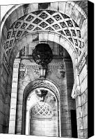 Archways Canvas Prints - Archways at the Library bw Canvas Print by John Rizzuto