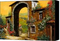 Tuscany Painting Canvas Prints - Arco Di Paese Canvas Print by Guido Borelli