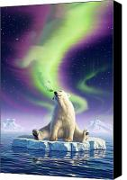 Polar Bear Canvas Prints - Arctic Kiss Canvas Print by Jerry LoFaro