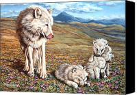 Wolf Cubs Canvas Prints - Arctic Summer Canvas Print by Richard De Wolfe
