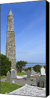 Graveyard Canvas Prints - Ardmore Round Tower - Ireland Canvas Print by Mike McGlothlen