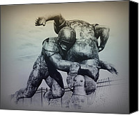 Field Digital Art Canvas Prints - Are You Ready for Some Football Canvas Print by Bill Cannon
