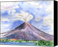 Cloud Painting Canvas Prints - Arenal Volcano Costa Rica Canvas Print by Arline Wagner
