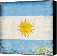 Antique Pastels Canvas Prints - Argentina flag Canvas Print by Setsiri Silapasuwanchai