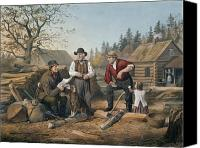Pioneers Painting Canvas Prints - Arguing the Point Canvas Print by Currier and Ives