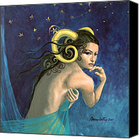 Figurative Canvas Prints - Aries from Zodiac series Canvas Print by Dorina  Costras