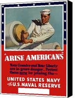 Propaganda Canvas Prints - Arise Americans Join the Navy  Canvas Print by War Is Hell Store