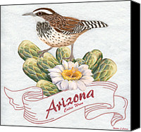 Wren Digital Art Canvas Prints - Arizona State Bird Cactus Wren  Canvas Print by Walter Colvin