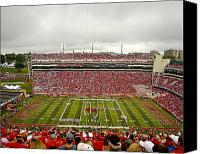 Arena Photo Canvas Prints - Arkansas Marching Band forms U-of-A at Razorback Stadium Canvas Print by Replay Photos