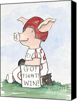 Baseball Art Print Painting Canvas Prints - Arkansas Razorback Baseball Piggy Canvas Print by Annie Laurie