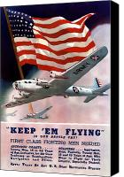 World War I Digital Art Canvas Prints - Army Air Corps Recruiting Poster Canvas Print by War Is Hell Store