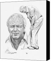 Famous Drawings Canvas Prints - Arnold Palmer Canvas Print by Murphy Elliott